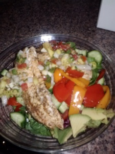 salad with tilapia and mango salsa