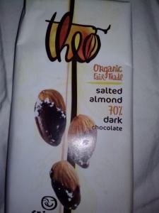 Theo Organic Fair Trade Salted Almond 70% Dark Chocolate bar