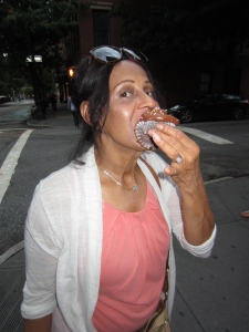 mom enjoying her Magnolia cupcake!